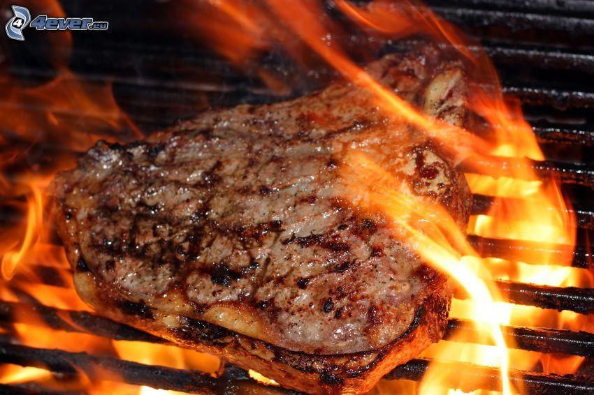 steak, grilované mäso, oheň