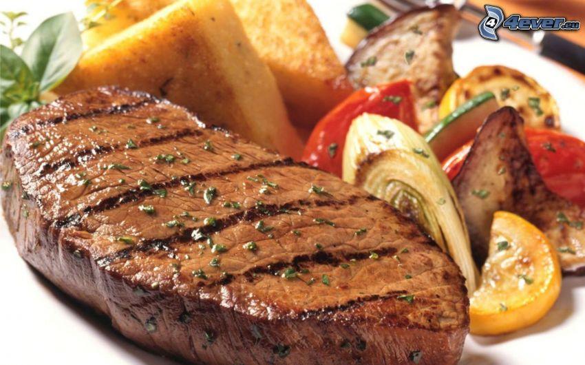 steak, zelenina