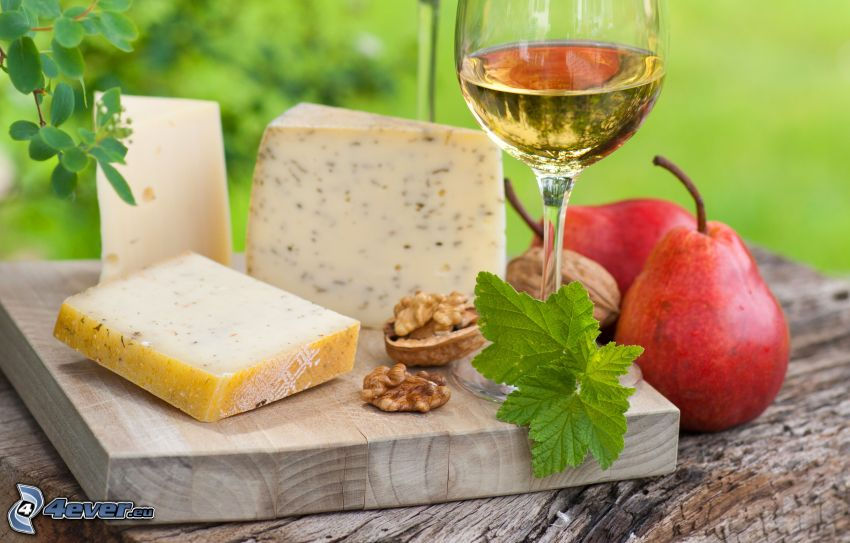 syry, víno, hrušky
