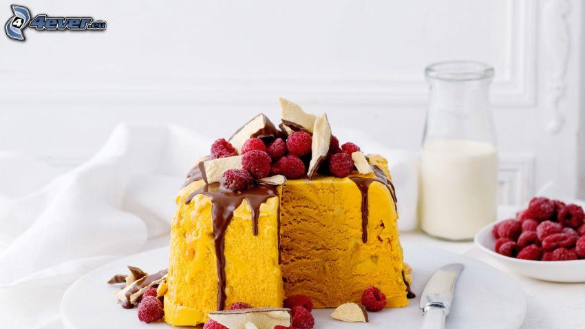 torta, maliny, čokoláda, mlieko