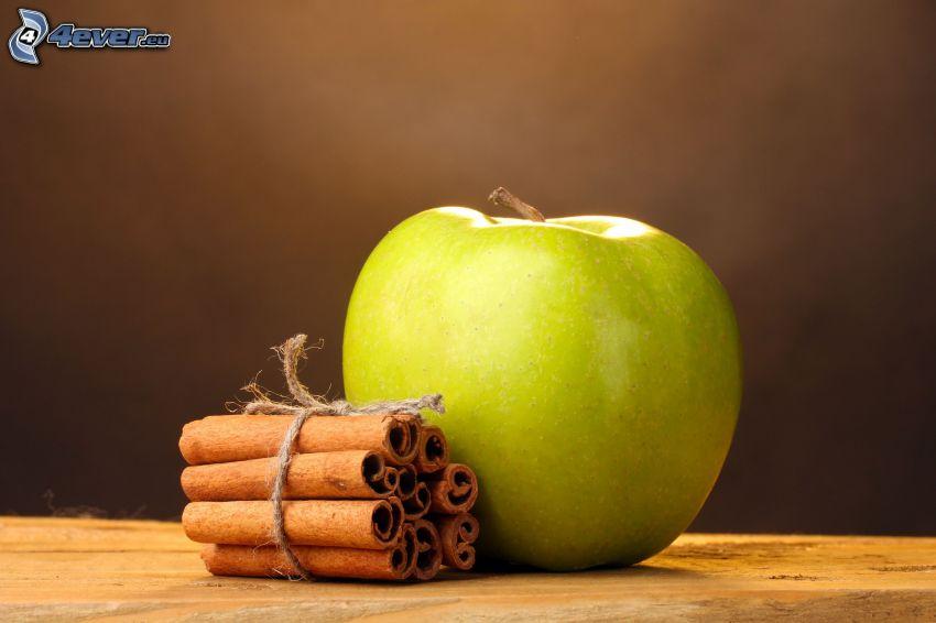 zelené jablko, škorica