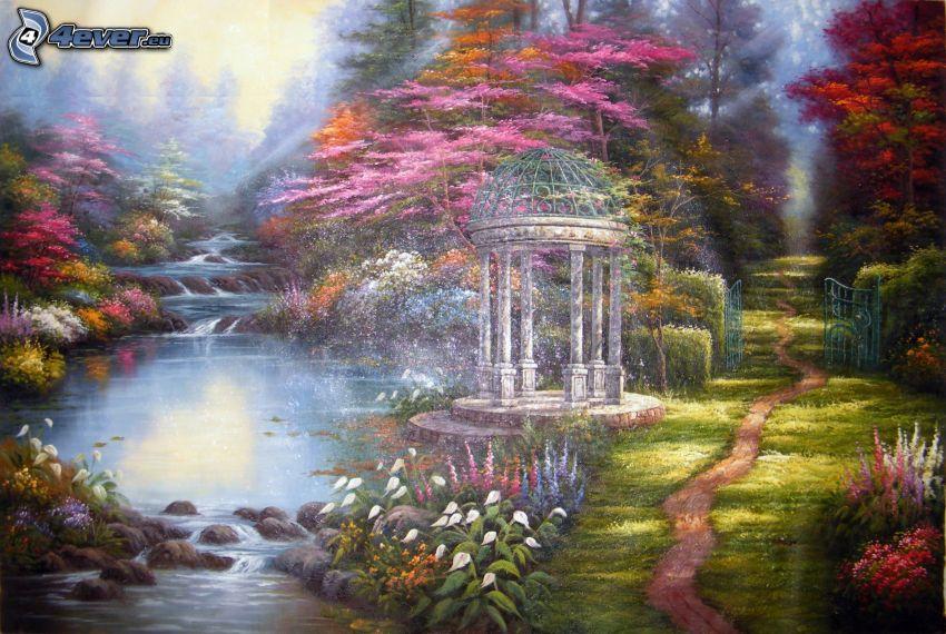 altánok, potok, lesný chodník, farby
