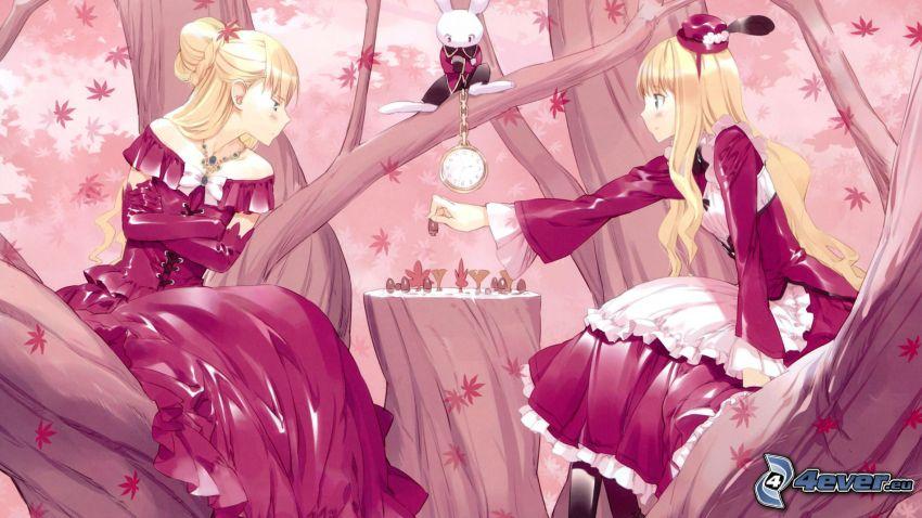 Alica v krajine zázrakov, anime dievčatá, šach