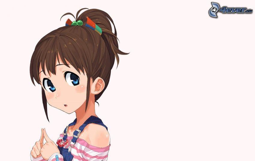 anime dievča, brunetka