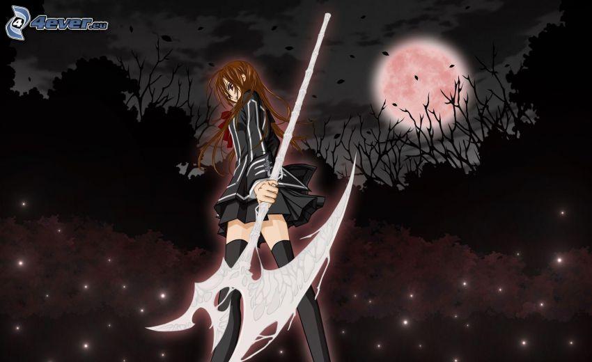 anime dievča, mesiac