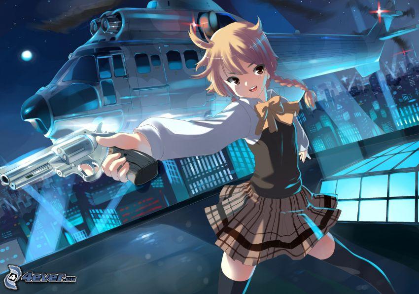 anime dievča, pištoľ