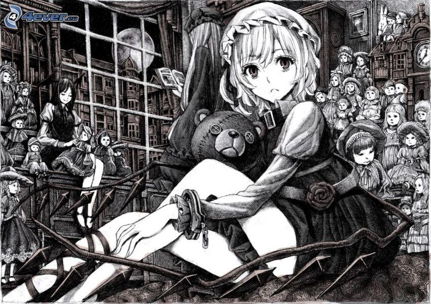 anime dievča, plyšový medvedík, čiernobiele