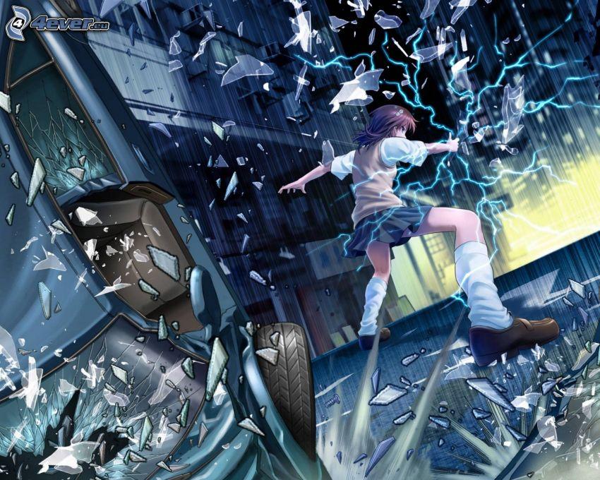 anime dievča, rozbité sklo
