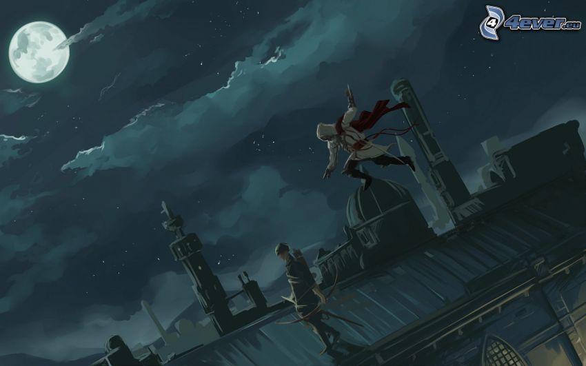 anime postavičky, strecha, mesiac, oblaky