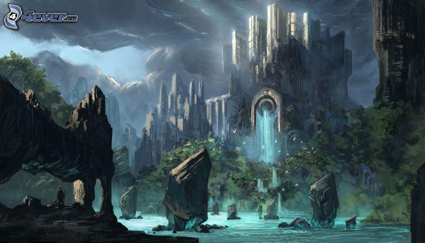 fantasy hrad, krajina