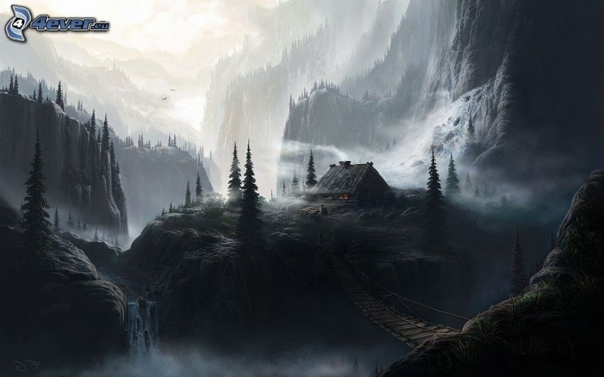 fantasy krajina, chalúpka, skalnaté hory, drevený most, čiernobiele