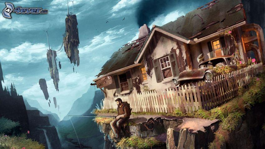 fantasy krajina, kreslený dom, rybár