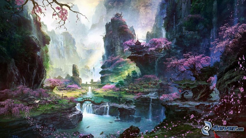 fantasy krajina, ružový strom, rieka, domy
