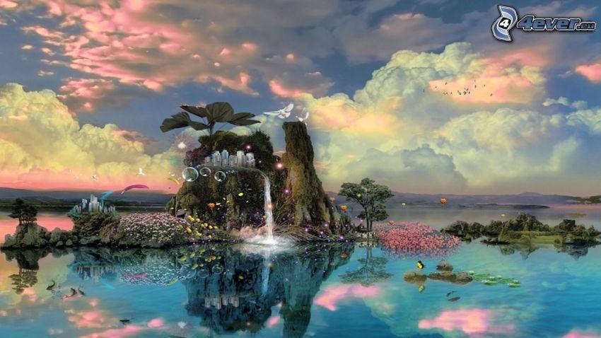 fantasy krajina, skala, vodopád, stromy, bubliny, oblaky