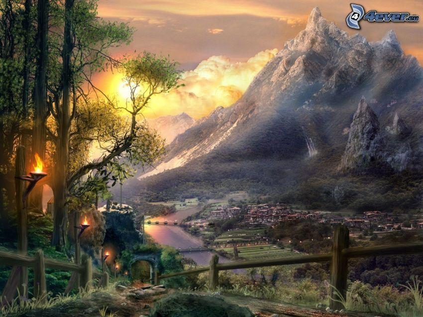 fantasy krajina, skalnatá hora, západ slnka, rieka