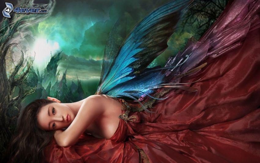 fantasy žena, krídla