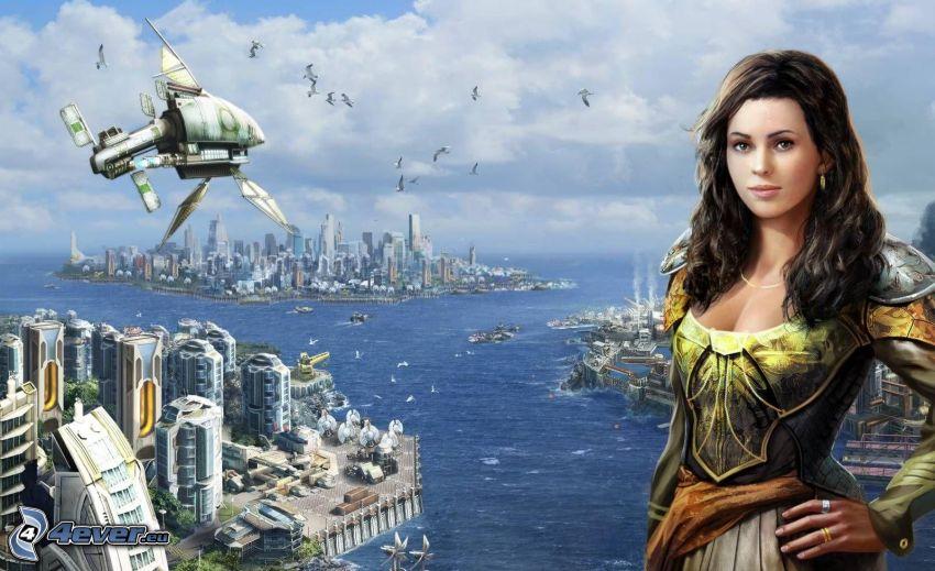 kreslená žena, sci-fi mesto, výhľad na mesto