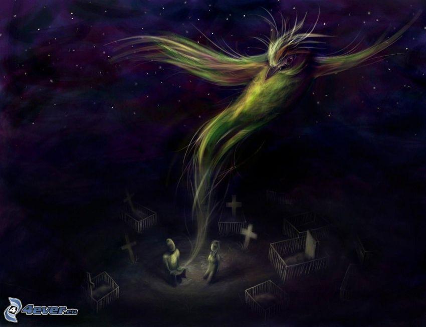 kreslený vtáčik, hroby, noc