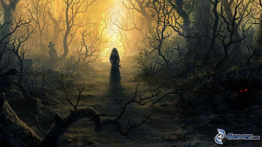 les, duchovia, červené oči, siluety stromov, cintorín