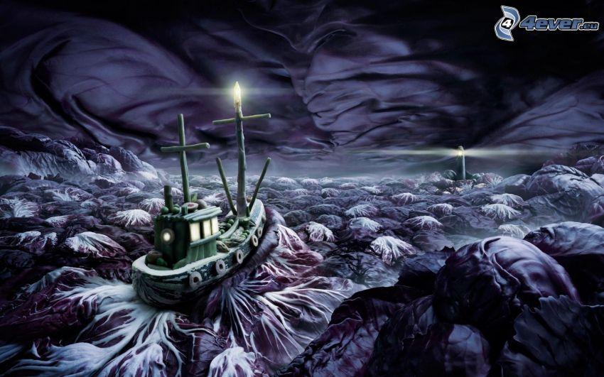 loď, fantasy krajina, maják