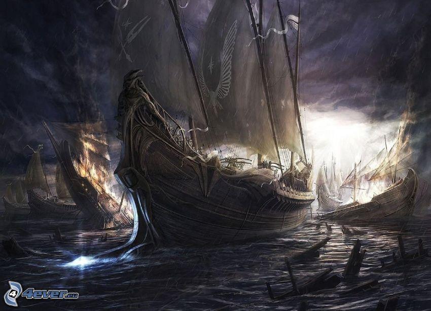 plachetnice, búrlive more, búrkové mraky
