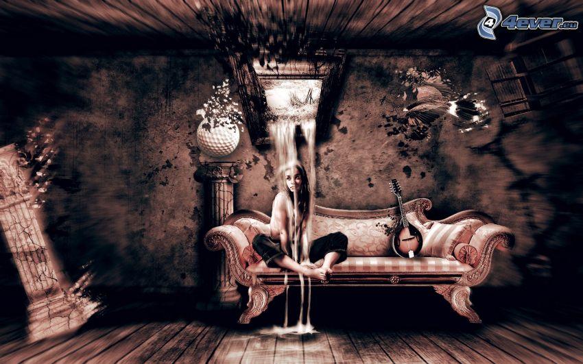 polonahá žena, žena na gauči, voda