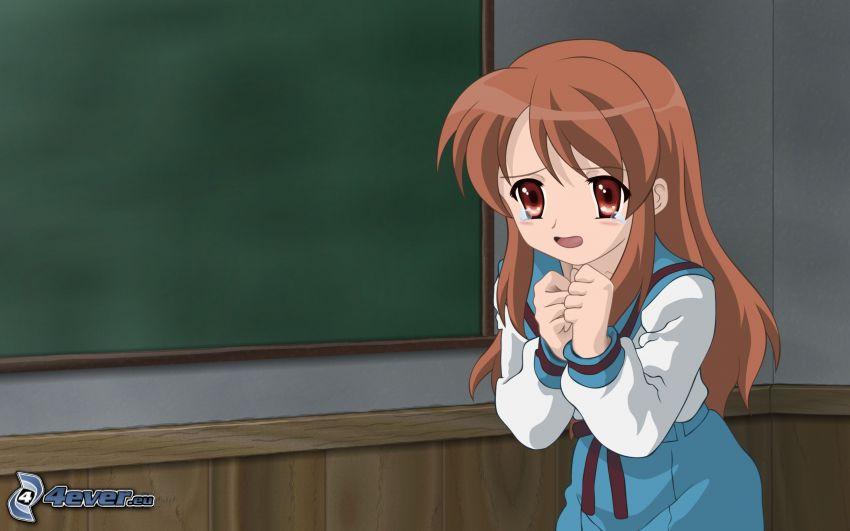 uplakané dievča, anime dievča, tabuľa