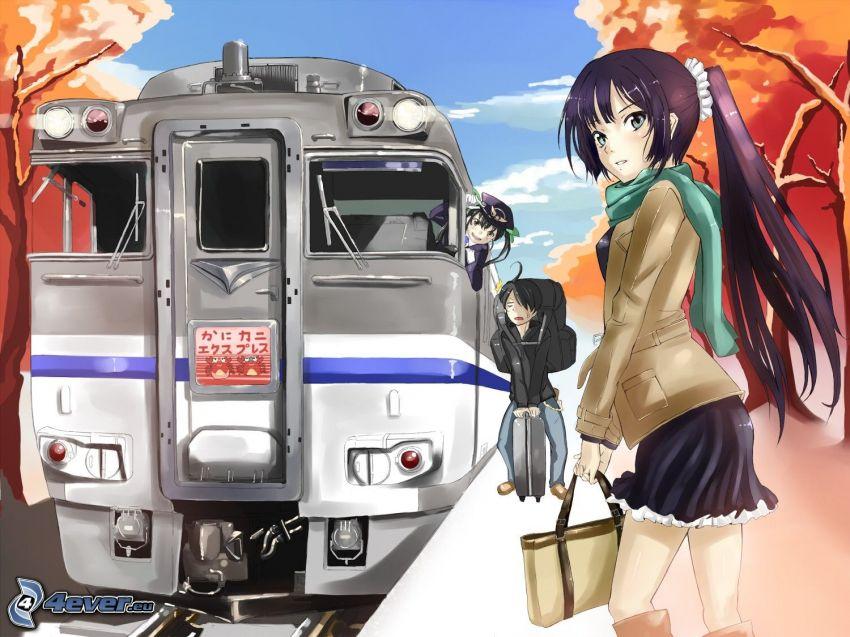 anime dievča, vlak