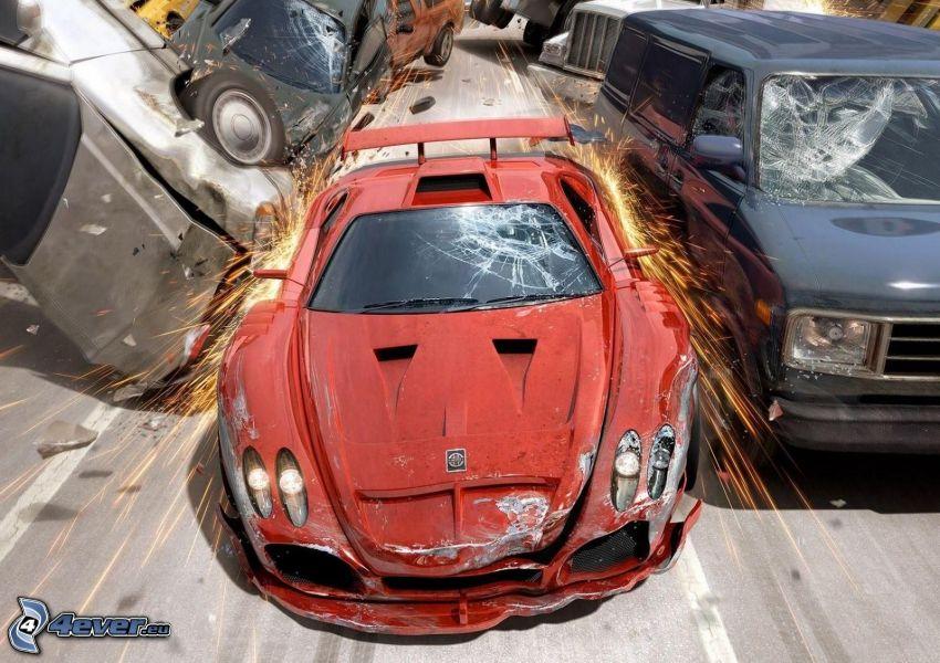 autá, havária, iskrenie