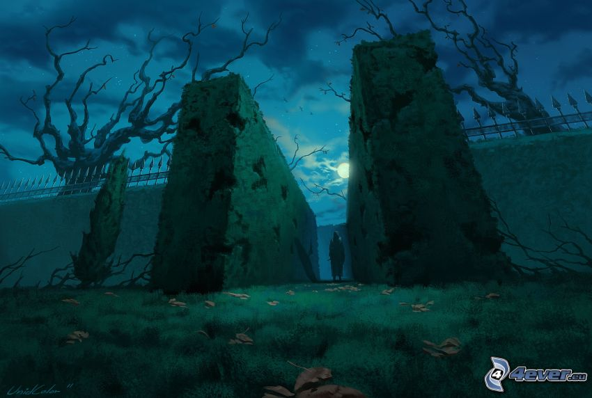 brána, strašidelná postava, noc