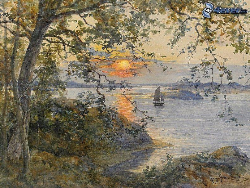 breh, stromy, západ slnka pri mori, plachetnica