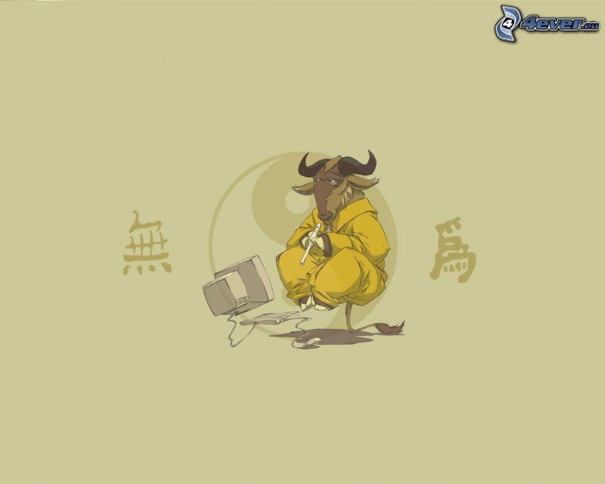 býk, počítač, mních