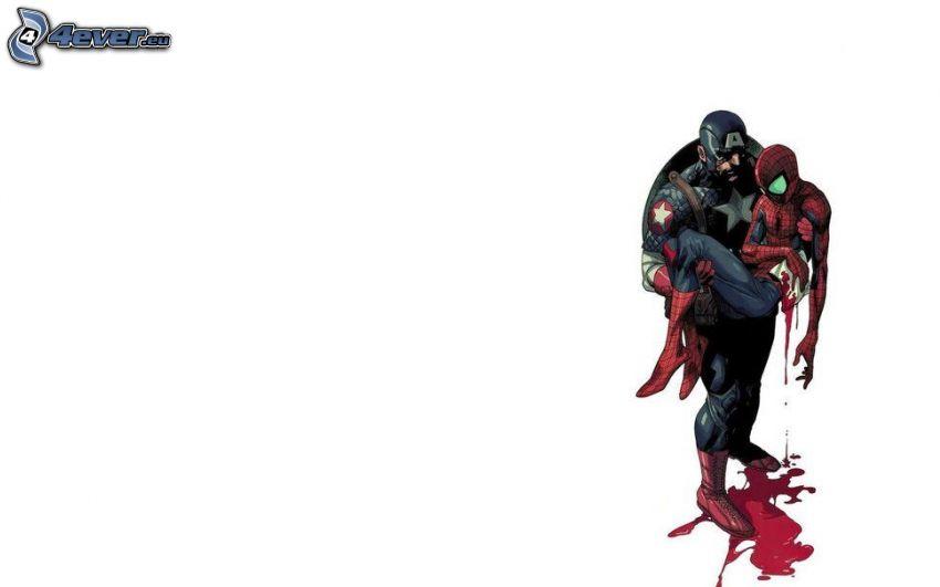 Captain America, Spiderman, zranenie, krv
