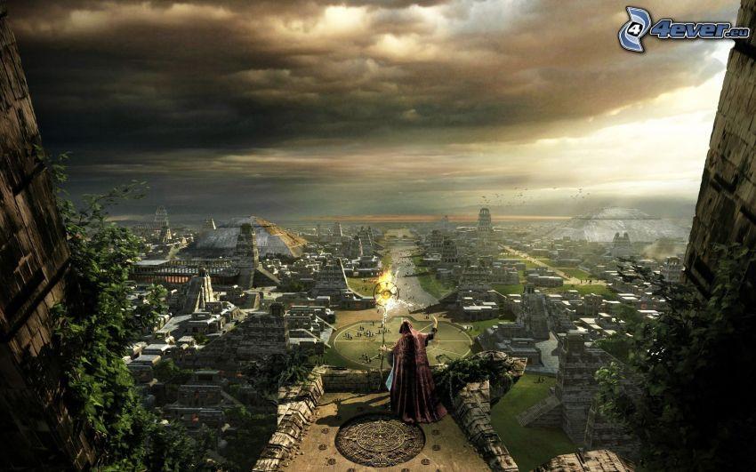 čarodejník, výhľad na mesto