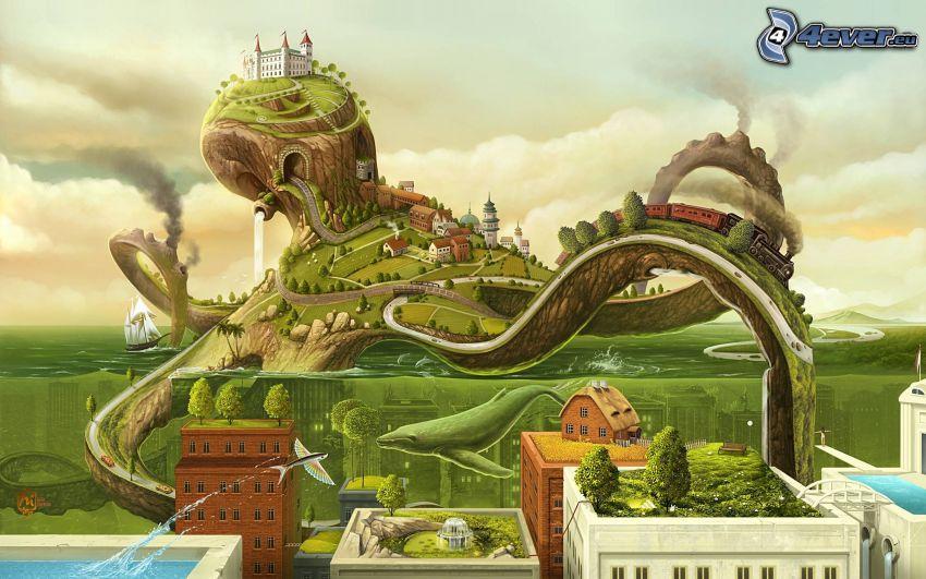 chobotnica, kreslená krajina, hrad, vlak, domy, voda