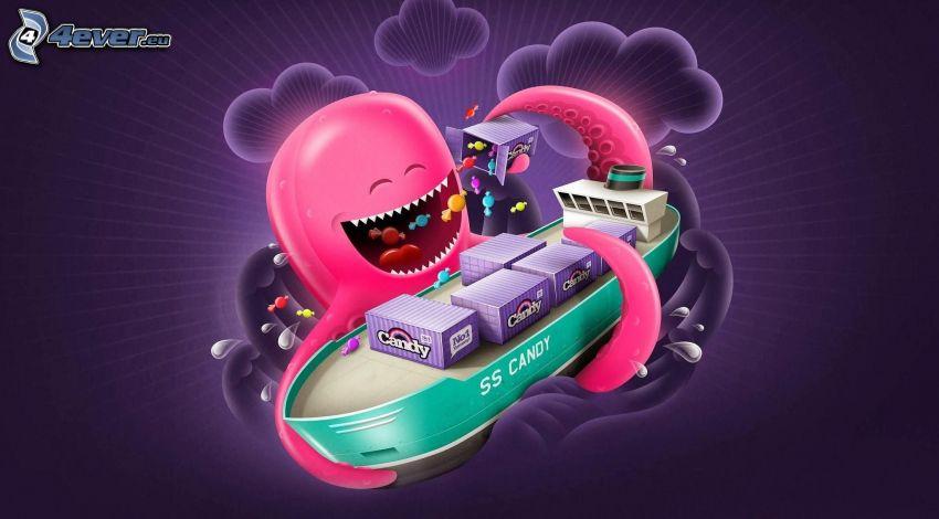 chobotnica, loď, cukríky