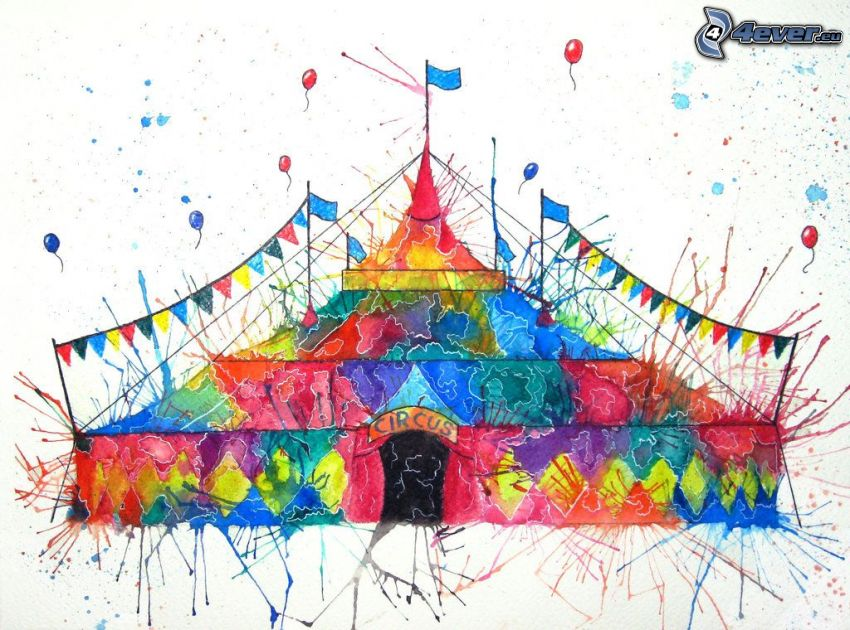 cirkus, farby