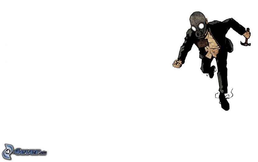 človek v plynovej maske