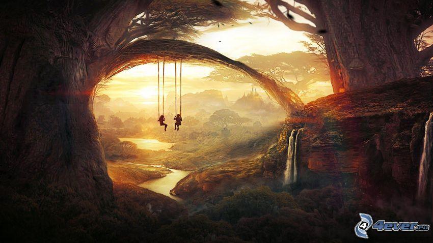 deti, hojdačky, západ slnka v lese, rieka, džungľa