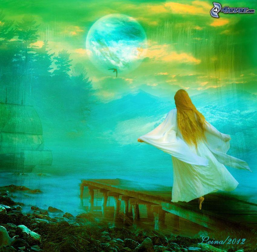 dievča, drevené mólo, biele šaty, mesiac, plachetnica