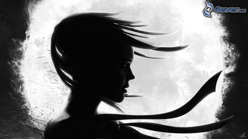 dievča, vietor