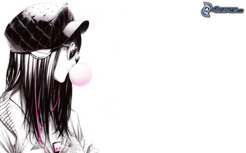 dievča s okuliarmi, bublina