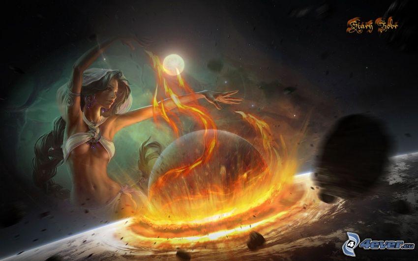 apokalyptický náraz, čarodejnica, planéta, mesiac