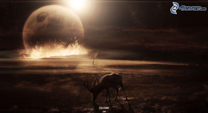 apokalyptický náraz, planéta, iskrenie, jeleň