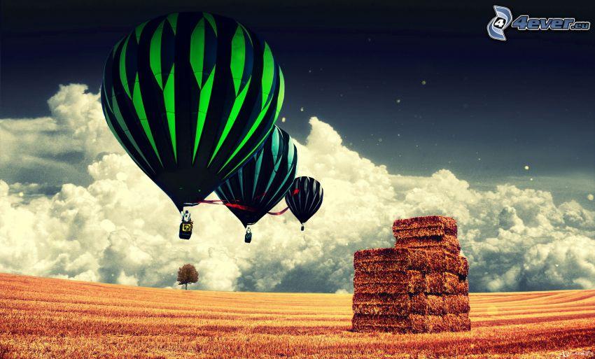 balóny, slama, oblaky