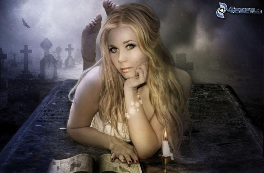 blondínka, kniha, sviečka, hrob, noc