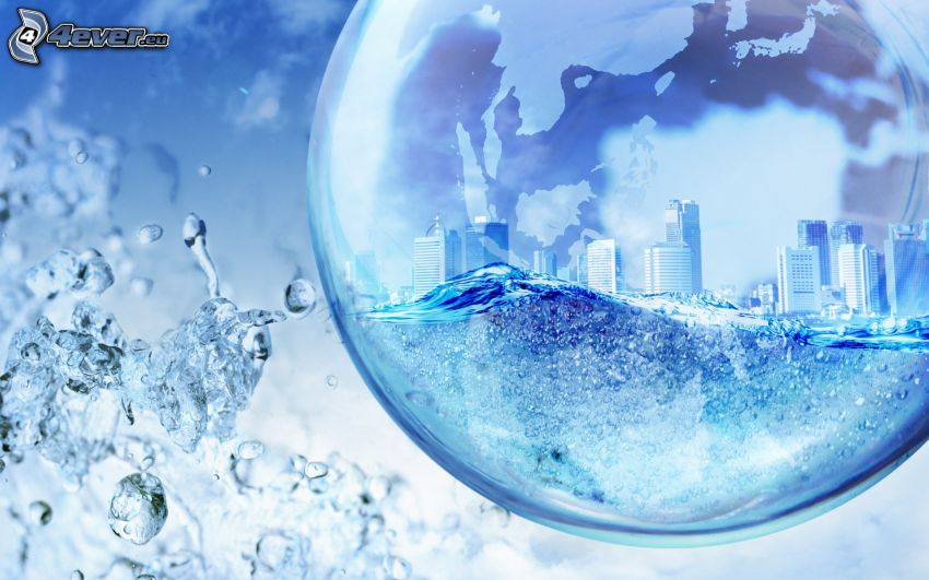 bublina, mesto, voda