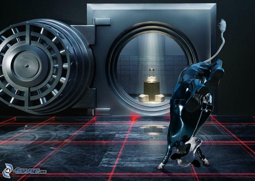 býk, laserové lúče, trezor, akrobacia