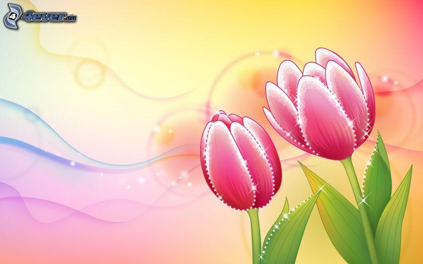 červené tulipány, kreslené kvety, vlny