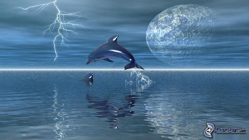 delfíny, skok, mesiac, blesk, more